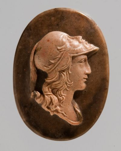 ''Cameo: head of Alexander the Great in a helmet''; Russia, Ekaterinburg, 1829–30; Orsk jasper; 2.1 × 1.5 cm