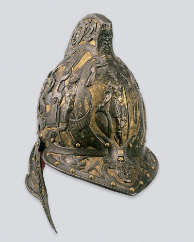 ''Burgonet helmet''; Italy, 1570-1580; steel, copper, velvet, forged, embossed, gilded, gold incrustation; h. 29cm