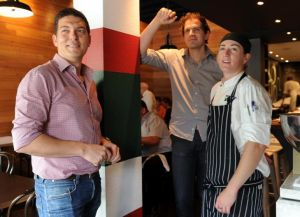 Owners and staff, left to right, Pasquale Trimboli, Vincenzo Trimboli and Carolyn Miller (chef) at Italian and Sons, Braddon.
