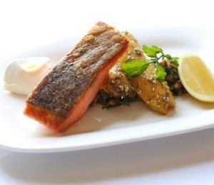 Roasted ocean trout.