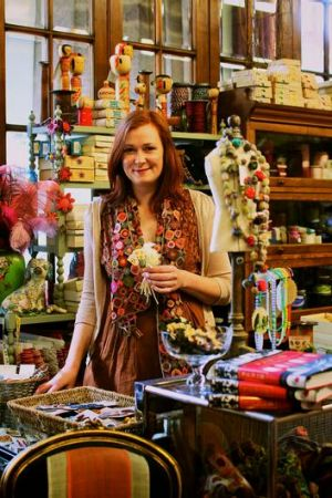 Kim Hurley at her vintage haberdashery store, where customers can ''touch and pat'' items including fabrics and antique ...