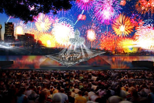 An artist's impression of the 'La Traviata' setting and stage as it will appear on the harbour with the city skyline behind.