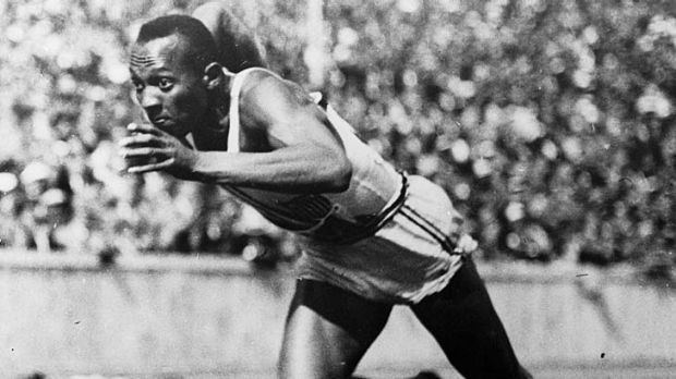 Jesse Owens in the 200 metres heats at the 1936 Olympics.