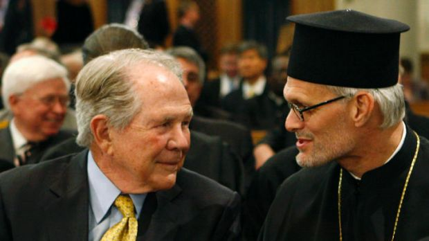 Pat Robertson (left) at an ecumenical prayer service in New York in 2008.