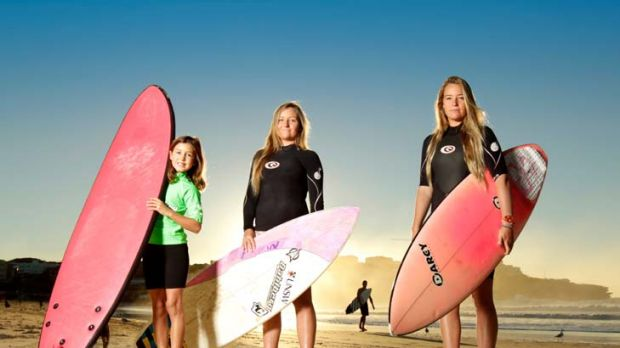 New crew ... Eliza Wachholz, 9, with twins Olivia and Phoebe Miley-Dyer, 19, at Bondi Beach are among the women who make ...