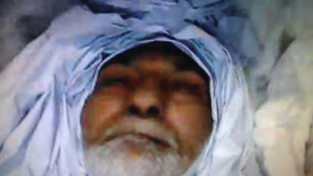 A Skype image of Mr Akram's body transmitted from a laptop computer to the family in Sydney.
