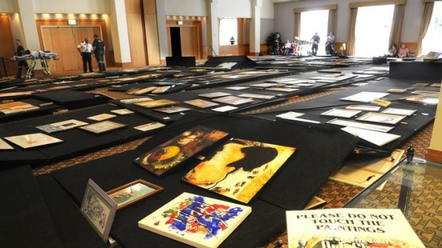 The collapsed artworks at the Canberra Times Art Show at the Hyatt Hotel, Canberra.