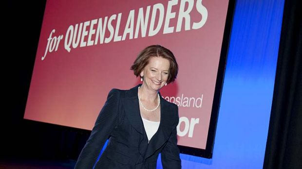 Julia Gillard exits the stage after her speech at the official Labor Campaign Launch at the Brisbane Convention Centre.