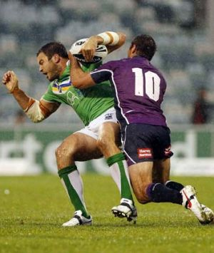 """""""I feel really energised being injury-free now"""" ... David Shillington of the Raiders is tackled by Bryan Norrie of the ..."""
