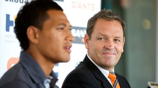 Code coup: Dale Holmes and Israel Folau last year.