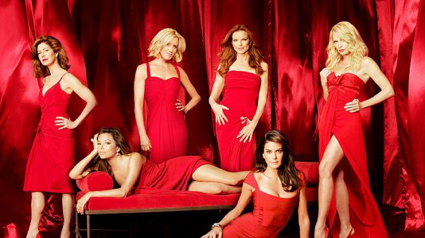 The cast of <i>Desperate Housewives</i>, including Nicollette Sheridan (right).