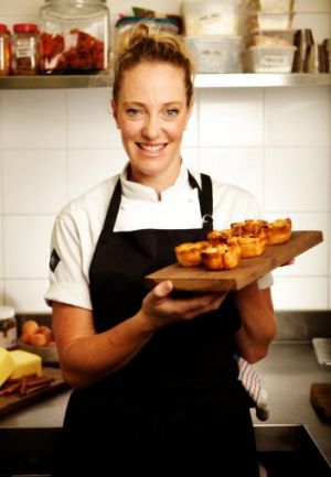 Angie Locharden with her custard tarts.