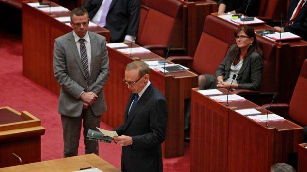 Senator Bob Carr is sworn in as a NSW senator.