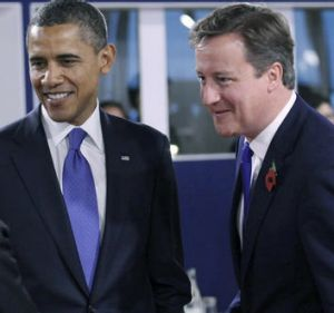 US President Barack Obama and British Prime Minister David Cameron.