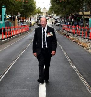 Hoping for a return: Vietnam veteran Brian Tateson on Swanston Street, where he and comrades were first cheered in 1988.