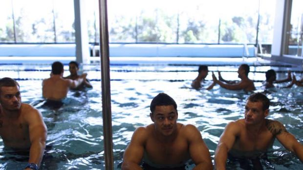 Taking no risks this time … Jarryd Hayne at the Parramatta recovery session yesterday following his knee injury in ...