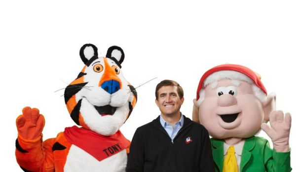 Former Canberran and Kellogg's chief executive John Bryant with Tony the Tiger and Ernie Keebler (of Keebler elves) for ...