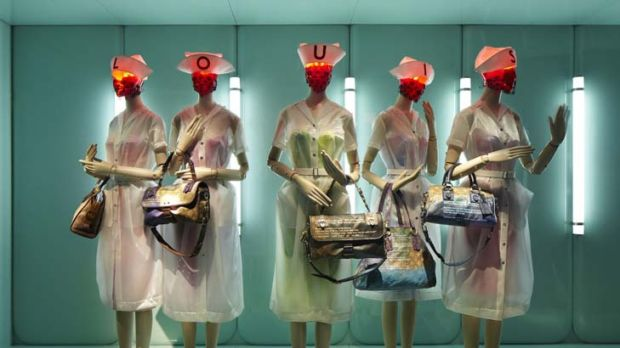 Legendary line-up ... a display of the nurses' outfits and bags from the Jokes Monogram line, created by artist Richard ...