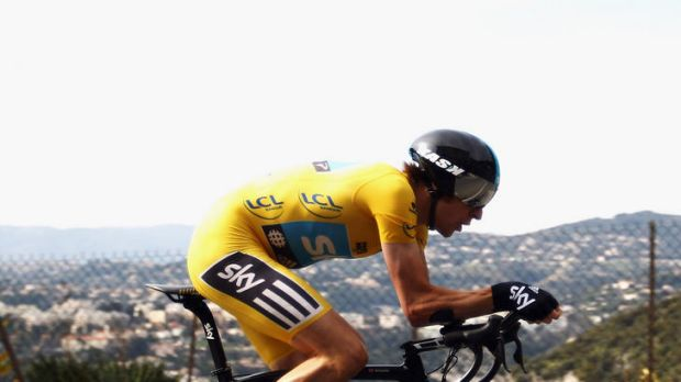 Bradley Wiggins of Great Britain powering to victory in Paris-Nice earlier this week.