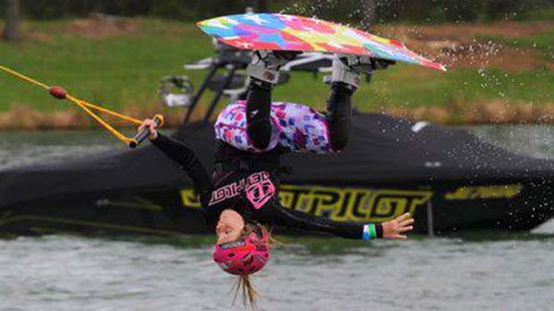 Fearless ... Under 9's national wakeboarding champion Zahra Kell demonstrates one of the flips in her wakeboarding ...