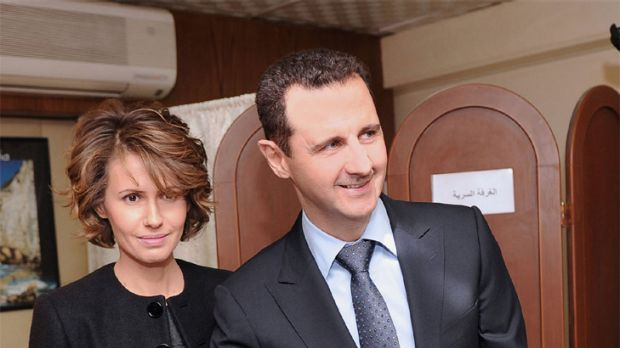 Emails hacked ... Syrian President Bashar al-Assad and the first lady, Asma.