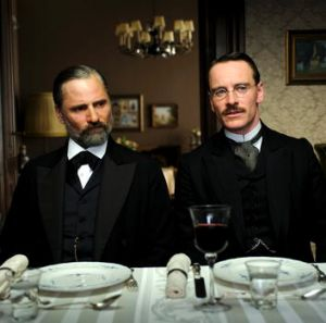 Viggo Mortensen and Michael Fassbender in <i>A Dangerous Method.</i>