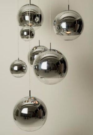 Tom Dixon Mirror Ball lights.
