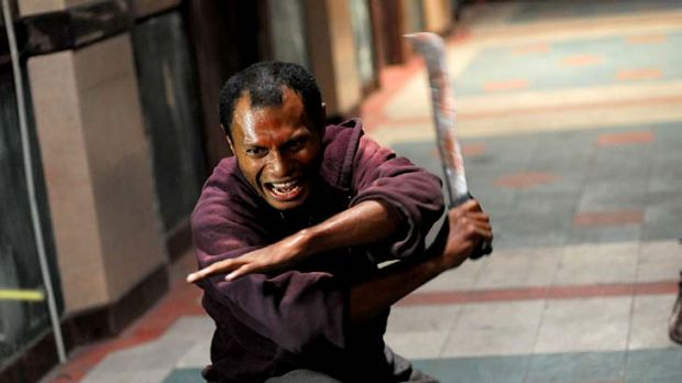 Cutting edge ... Alfridus Godfred lays down the law, machete-style, as the aptly named Machete Gang Member No.1.