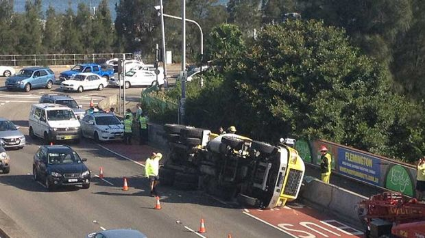 Rolled at Rozelle ... the accident causing tailbacks on the Anzac Bridge.