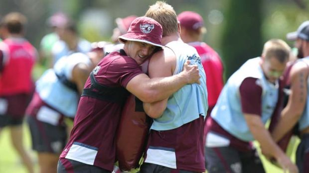 Feeling the love … Daly Cherry-Evans trains with the Manly squad yesterday.