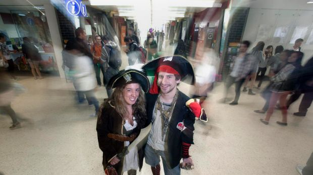 Nicole Darman and Ian Berryman of the Melbourne University Pirate Club.