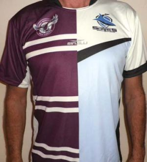 Dual supporter … Mike Williams' custom Manly-Cronulla jersey.