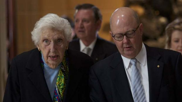 Farewell ... Margaret Whitlam with son-in-law Kim Williams, now the News Limited chief executive, at the funeral of her ...