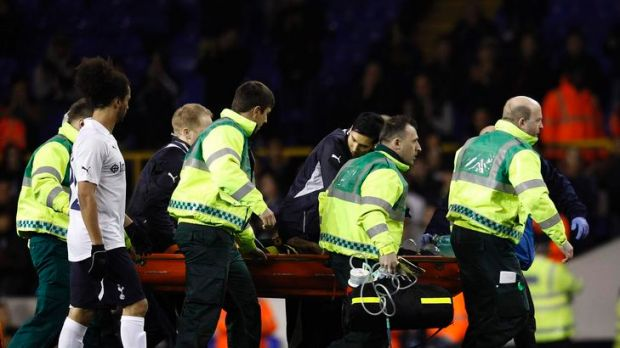 Fabrice Muamba of Bolton Wanderers is carried off the field during their FA Cup quarter-final match against Tottenham ...