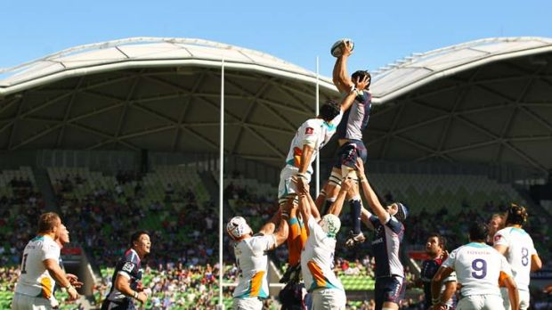 Tall order ... Tim Davidson of the Rebels wins the ball in a lineout against the Cheetahs at AAMI Park yesterday. It was ...