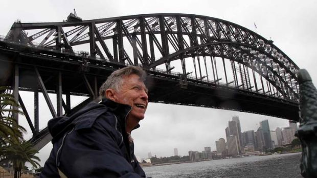 Standing tall … Douglas Lightbody contemplates his fellow 80-year-old, the Sydney Harbour Bridge. He plans to ...