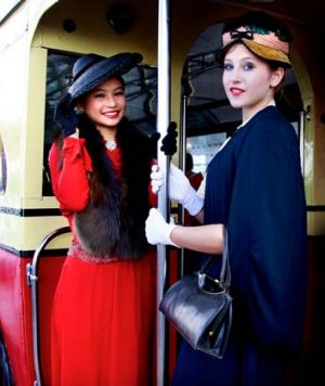 Clare Wong and Olivia Gillespie model 1930s clothing during the bridge's birthday celebrations yesterday.