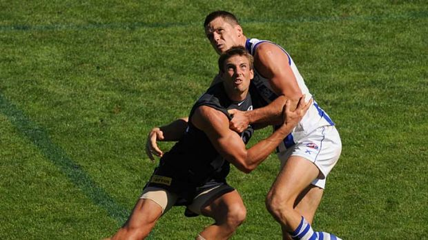 Let's tango: Carlton's Shaun Hampson in a tussle for the ball with North Melbourne's Hamish McIntosh during yesterday's ...