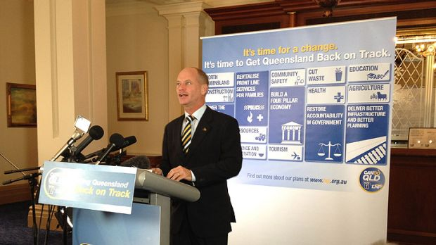 Campbell Newman releases the LNP's first 100 days plan at the Treasury Hotel in Brisbane this morning.