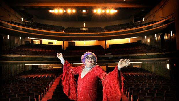 Sparkling wit: Dame Edna Everage announces her farewell tour at Her Majesty's Theatre in Melbourne yesterday.