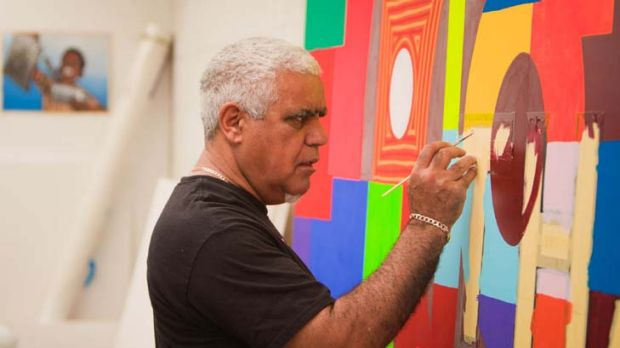Artist Richard Bell in his Brisbane studio.