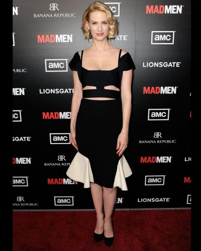 "January Jones arrives at the Premiere of AMC's ""Mad Men"" Season 5."