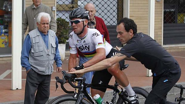 A flat tyre early in Milan-San Remo did not help Cavendish's cause.