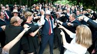 Queensland members of Katter's Australian Party gather together at parliament house to perform a Flashmob.11th of ...