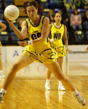 Court star … Alison back in her days as a professional netballer playing for Sydney Swifts in a National League ...