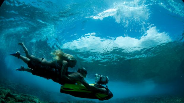 In <i>A Deeper Shade of Blue</i>, Jack McCoy pioneers the use of a high-powered underwater scooter to travel behind waves.