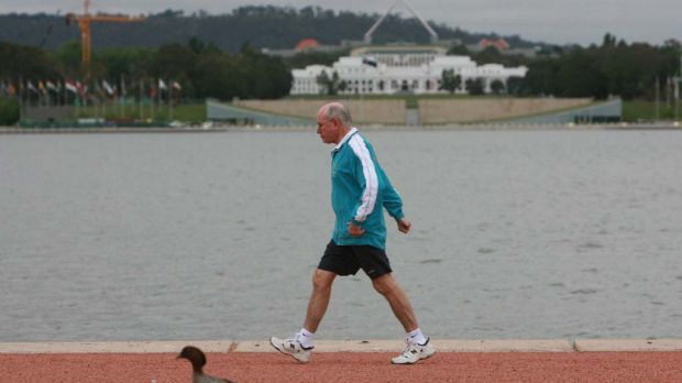Former prime minister John Howard was a familiar figure powerwalking in the streets.