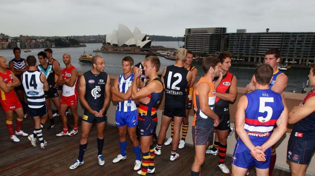 Photo call: The AFL captains in Sydney yesterday.