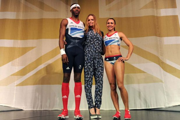British athletes, triple jumper Phillips Idowu (L) and heptathlete Jessica Ennis (R) pose with designer Stella McCartney (C).
