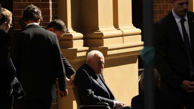 A partner lost ... the former prime minister Gough Whitlam attends the memorial service for his wife Margaret, who died ...